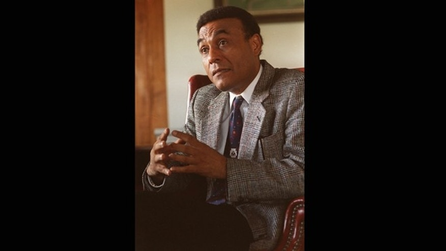 Nov. 22, 1994: In this file photo, former Haitian Prime Minister Smarck Michel speaks with the Associated Press in Port-Au-Prince, Haiti. Michel's son Kenneth Michel says his father died the morning of Saturday, Sept. 1, 2012 at home from a brain tumor. He was 75.