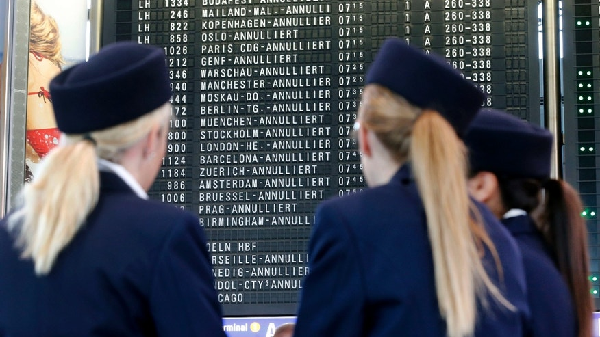 Canceled flights are displayed on a board as flight attendants of German Lufthansa airline go on an 24-hour strike for higher wages at the airport in Frankfurt, Germany, Friday, Sept. 7, 2012. Lufthansa canceled about 1,200 flights. (AP Photo/Michael Probst)