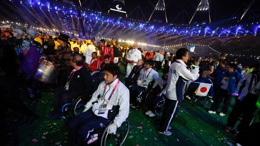 Sept. 9, 2012 - Japanese Paralympians at the end of the closing ceremony for the 2012 Paralympics in London.