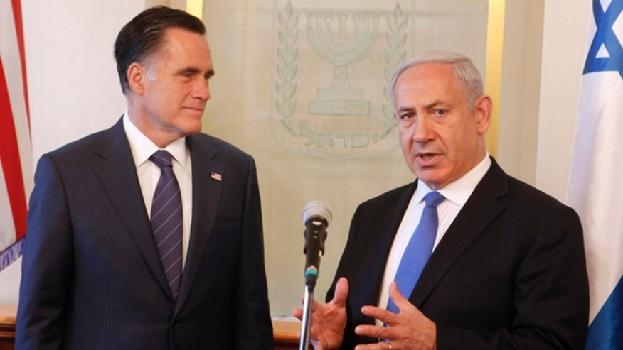 Israeli Prime Minister Benjamin Netanyahu, right, is old friends with Republican presidential candidate Mitt Romney. (AP)