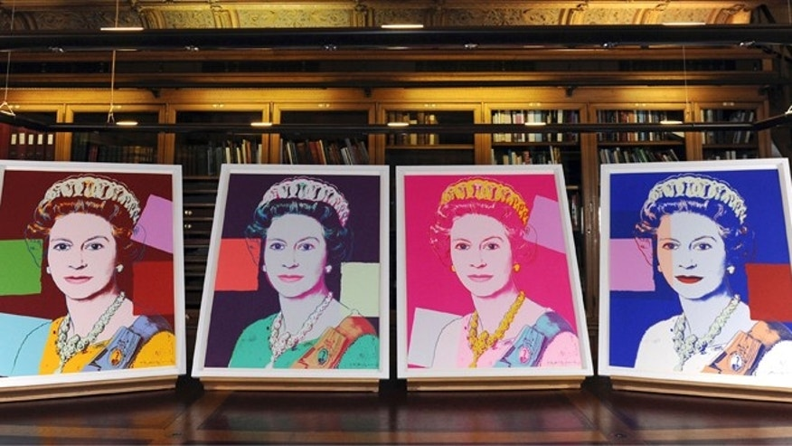 "Sept. 24, 2012: Four Andy Warhol portraits of Queen Elizabeth II are seen in Windsor Castle, Windsor, England, and will form part of the ""Portraits of a Monarch"" exhibit starting in November at Windsor Castle until June 2013."