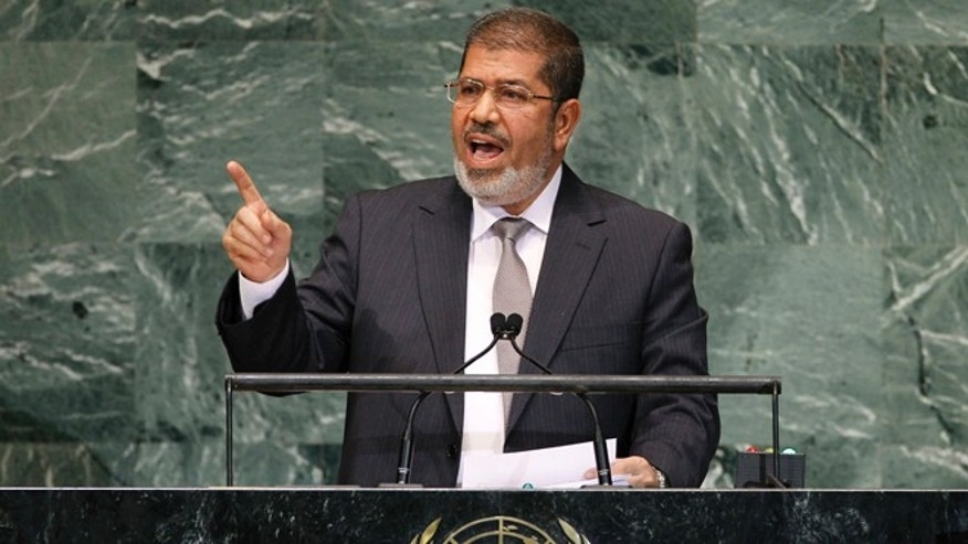 Sept. 26, 2012: Mohammed Morsi, President of Egypt, addresses the 67th session of the United Nations General Assembly at U.N. headquarters.