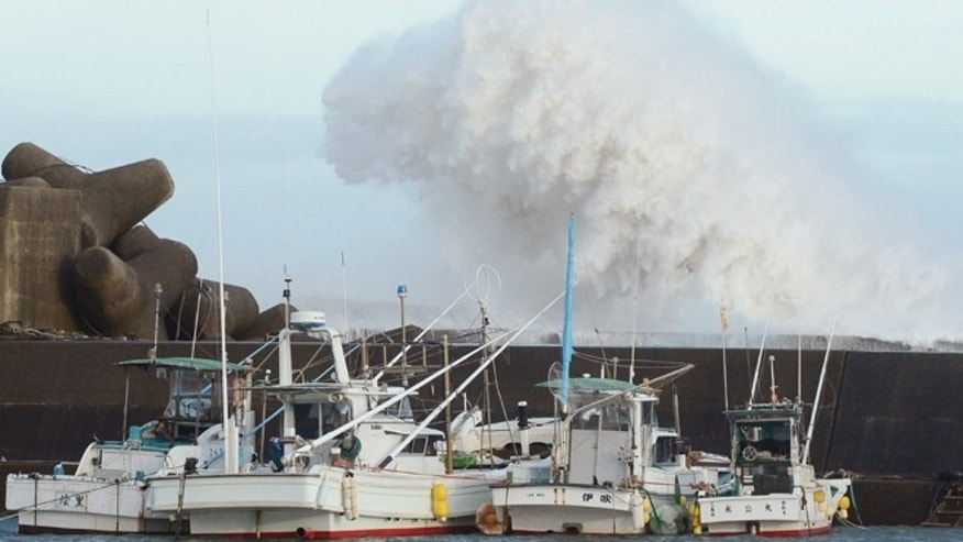 Sept. 30, 2012: High waves hit a breakwater in Kihocho, Mie prefecture, western Japan.