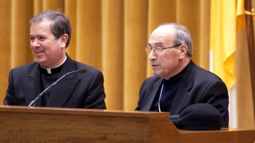 The superior general of the  Legion of Christ   Rev. Alvaro Corcuera, left, flanked by Cardinal Velasio De Paolis. (undated)
