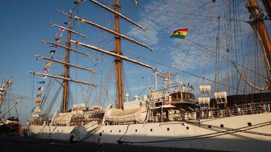 The three-masted ARA Libertad, a symbol of Argentina's navy, sits docked at the port in Tema, outside Accra, Ghana, Saturday, Oct. 20, 2012. (AP Photo/Gabriela Barnuevo)