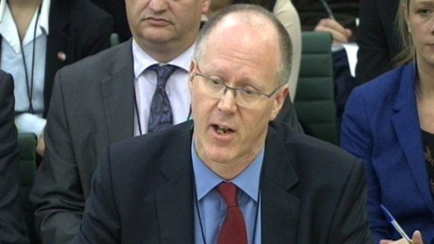 Oct. 23, 2012: In this video image, BBC Director General George Entwistle gives evidence to the Culture, Media and Sport select committee in the House of Commons, London. The BBC chief says allegations about decades of sexual abuse by its longtime TV host Jimmy Savile, and the broadcasters failure to stop him, constitute a very grave crisis for the venerable organization. (AP)