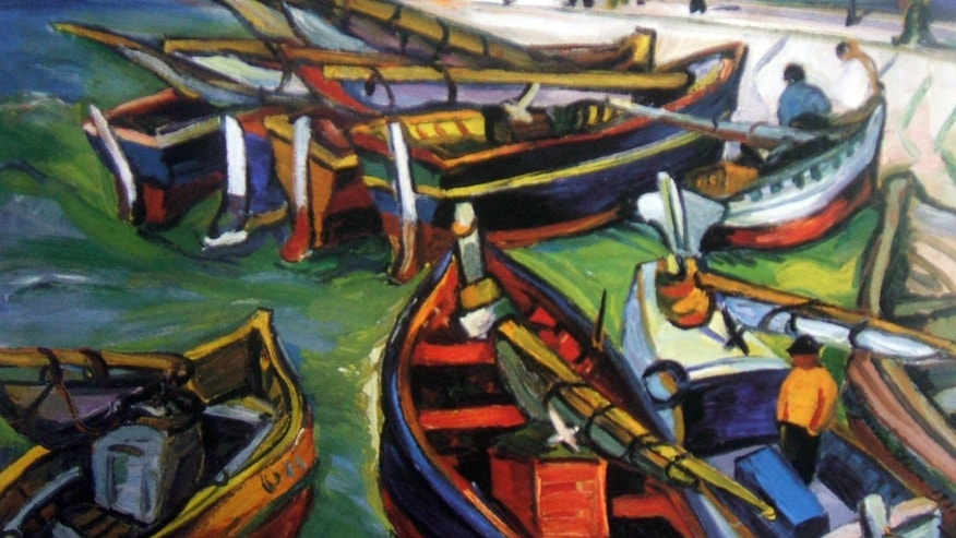 "Undated photo provided by The City of Tshwane shows a 1931 Irma Stern ""Fishing Boats"" oil on canvas."