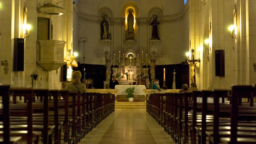 The interior of the church of San Francisco in La Plata where Juan Domingo Peron and Eva Maria Duarte were married on December 10 1945