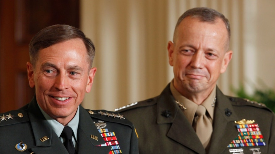 U.S. Army Gen. David Petraeus (L) and Marine Corps Gen. John Allen smile after President Barack Obama announced that he will nominate Allen to succeed Petraeus and Petreaus to succeed Leon Panetta as director of the CIA in the East Room of the White House April 28, 2011 in Washington, DC. (Photo by Chip Somodevilla/Getty Images)