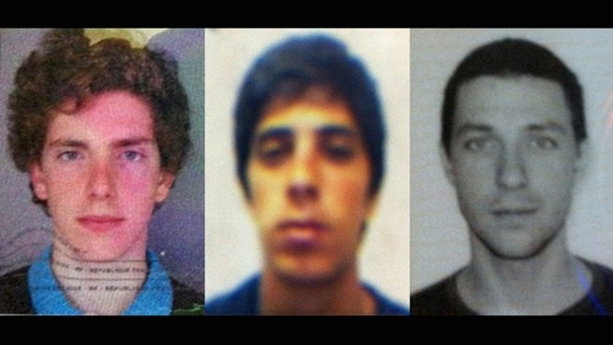 This combination of passport photos provided by Chile's ONEMI or regional emergency office, shows from left to right, Gillhem Bellon, 25, of France; Luca Ogliengo, 25, of Italy; and Dmitry Sivenkov, 32, of Russia, three European tourists hiking around the Villarica volcano in Chile's central valley, who haven't been heard from since Wednesday evening, Nov. 7, 2012.