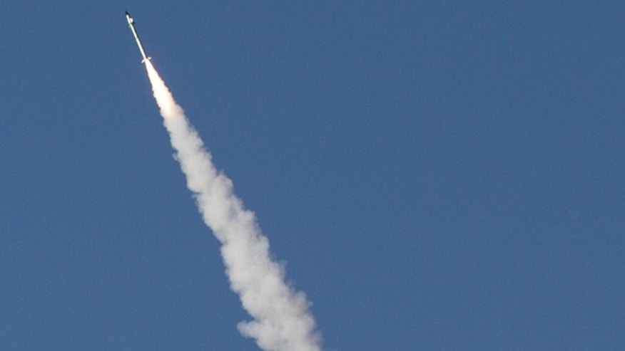 Nov. 18, 2012: An Iron Dome missile as it launched near the city of Ashdod, Israel, to intercept a rocket fired by Palestinians militants from the Gaza Strip.
