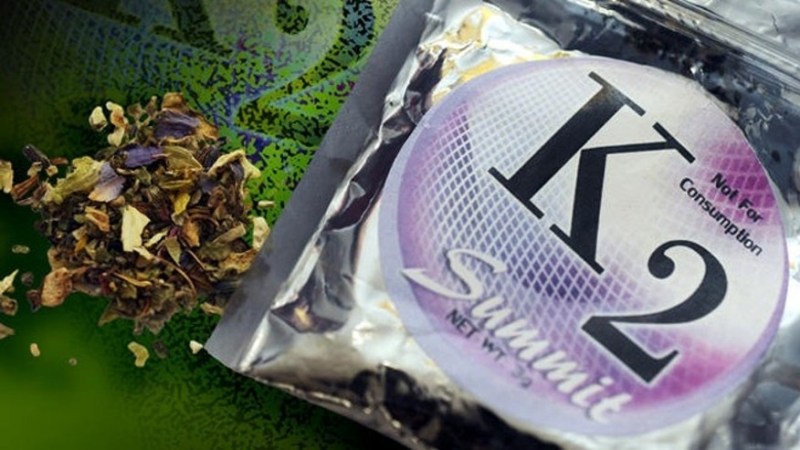 This  Feb. 15, 2010, photo shows a package of K2 which contains herbs and spices sprayed with a synthetic compound chemically similar to THC, the psychoactive ingredient in marijuana. State lawmakers in Missouri and Kansas have introduced bills which would create penalties for K2 possession similar to those for marijuana.(AP Photo/Kelley McCall)