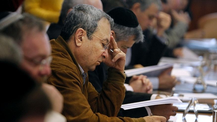 Nov. 27: Israel's Defense Minister Ehud Barak attends the weekly cabinet meeting in Jerusalem.
