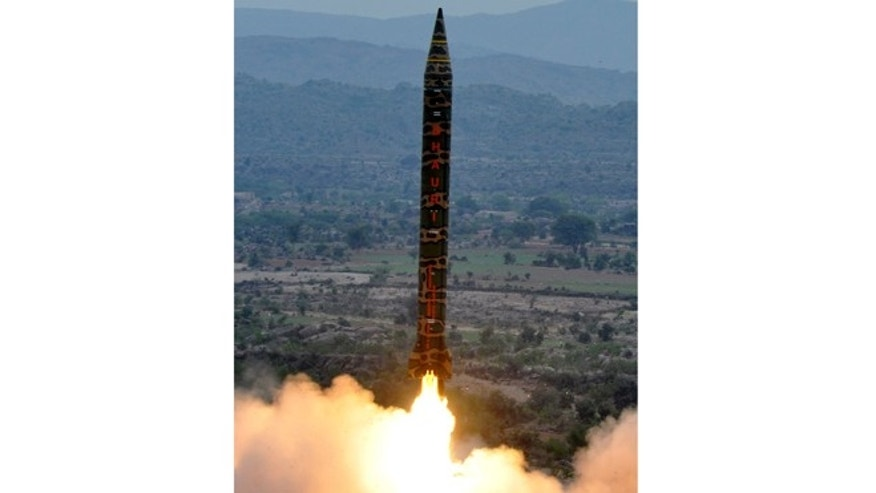 In this Wednesday, Nov. 28, 2012 photo released by Inter Services Public Relations department, Pakistan-made Hatf V or Ghauri missile is launched from an undisclosed location in Pakistan.