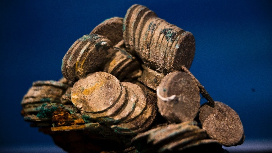 "Nov. 30, 2012 -Block of encrusted silver coins from the shipwreck of  1804 galleon,  ""Nuestra Senora de las Mercedes"" a treasure worth an estimated $500 million.."