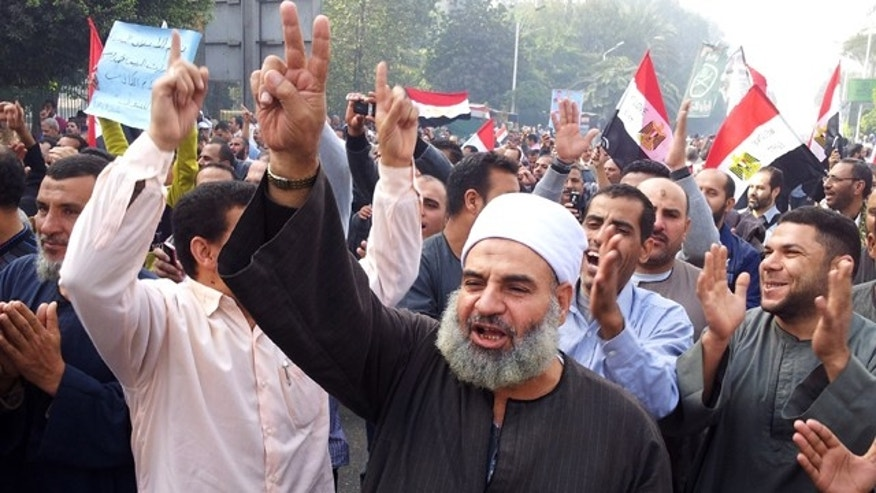 Supporters of Egyptian President Mohammed Morsi march in Cairo, Egypt.