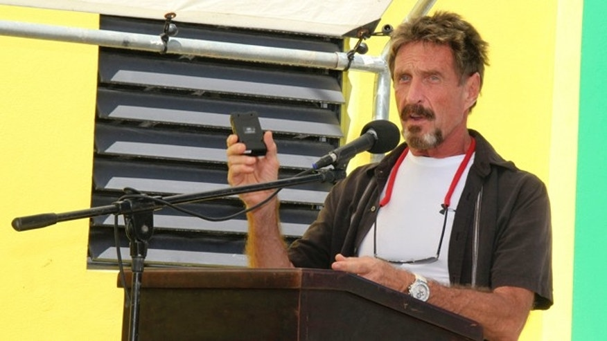 Nov. 8, 2012: Aoftware company founder John McAfee speaks at the San Pedro Police Station in Ambergris Caye, Belize.