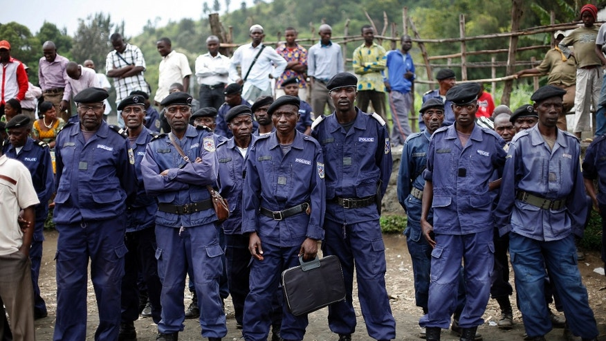 Dec. 3, 2012 -Police Nationale du Congo officers gather at a stadium to be briefed by commanders, in Goma, eastern Congo.