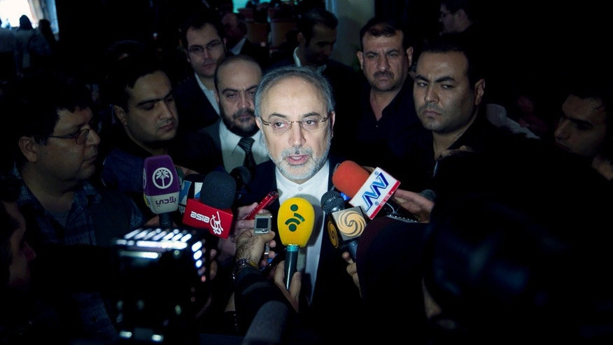 Nov. 18, 2012 FILE photo of Iranian Foreign Minister, Ali Akbar Salehi,  speaking with media in Tehran, Iran.