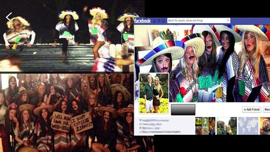 Top Left: (Instagram) Baylor students hop over mock fence. Bottom Left: Tumblr Photo from Penn State University of sorority girls. Middle Right: Public Facebook photo from Baylor student's profile.
