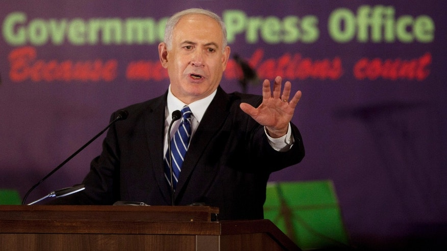 Dec. 10, 2012 -Prime Minister Benjamin Netanyahu speaks during an event with foreign press in Jerusalem.