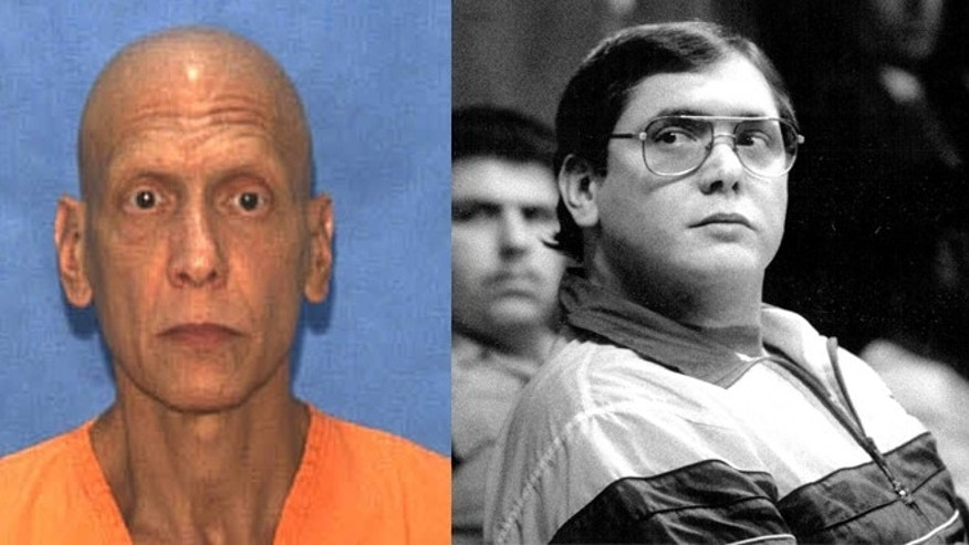 Manuel Pardo, 56, in an undated photo from a Florida prison (left) and on the right during his 1999 trial.