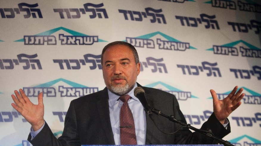 Dec. 13, 2012 -Israel's Foreign Minister Avigdor Lieberman speaks to the media during an event in Tel Aviv, Israel.