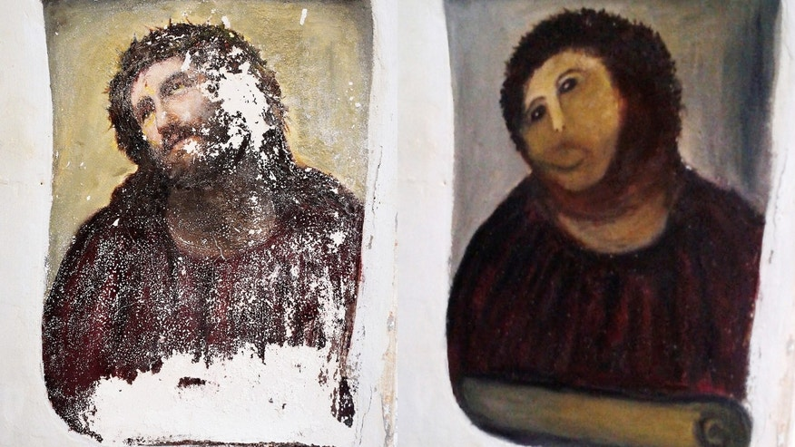 This combination of two undated handout photos made available by the Centro de estudios Borjanos shows the 20th century Ecce Homo-style fresco of Christ before (left) and after (right) an elderly amateur artist took it upon herself to restore it.