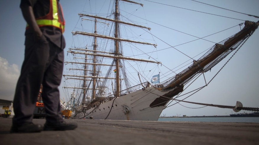 Dec. 14, 2012: Argentina's three-masted navy training tall ship ARA Libertad, which was seized on Oct. 2 as collateral for unpaid bonds dating from Argentina's economic crisis a decade ago, sits docked at the port in Tema, outside Accra, in Ghana.