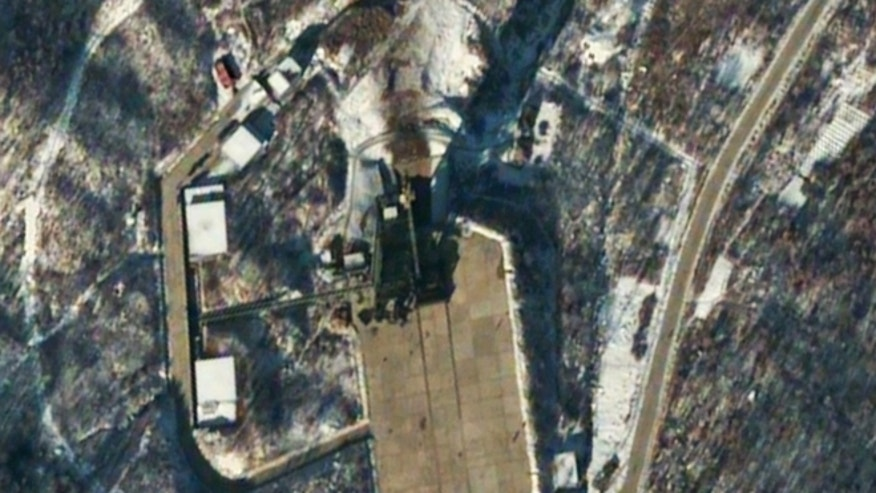 Dec. 12, 2012: This satellite image provided by DigitalGlobe shows the Sohae Satellite Launching Station in Tongchang-ri, North Korea, 54 minutes after a long-range Unha-3 rocket was successfully launched.