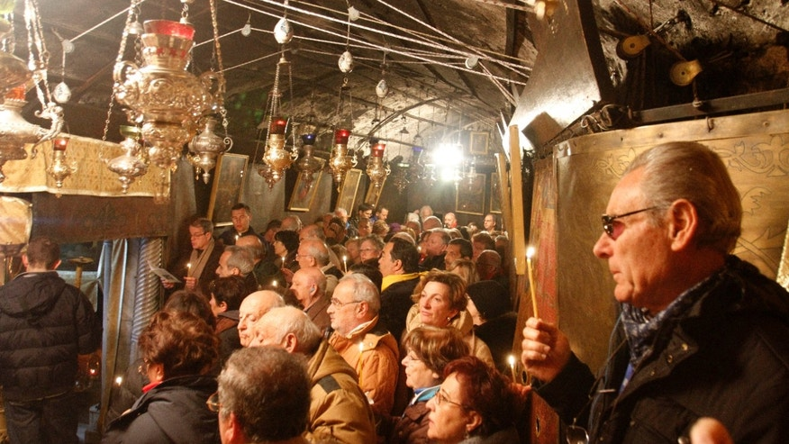 Dec. 21, 2012 - Christian worshipers pray in the Grotto at the Church of Nativity, traditionally believed by Christians to be the birthplace of Jesus Christ, in Bethlehem.