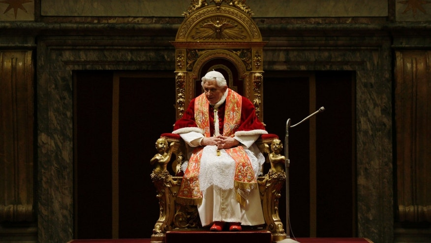 Dec. 21, 2012: Pope Benedict XVI delivers his message on the occasion of the exchange of Christmas greetings with the Roman curia, in the Clementine hall at Vatican.