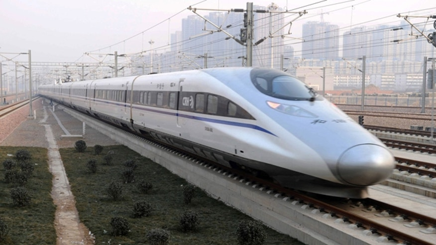 Dec. 26, 2012: A high-speed train G802 leaves for Beijing from Shijiazhuang, capital of north China's Hebei Province. China has opened the world's longest high-speed rail line, which runs 1,428 miles from the country's capital in the north to Guangzhou, an economic hub in the Pearl River delta in southern China.