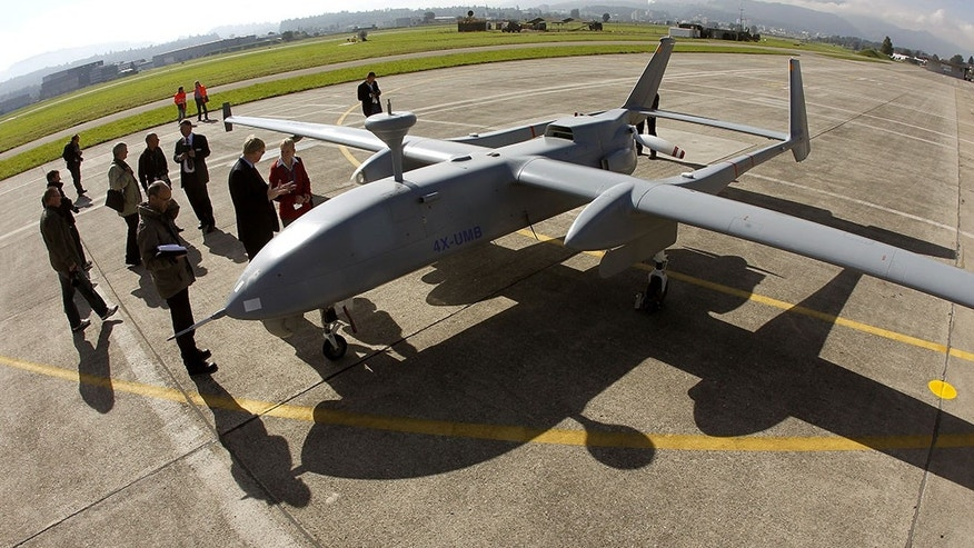 An Israel Aero Space Industries Heron 1 unmanned aerial vehicle stands on the tarmac. (Reuters).