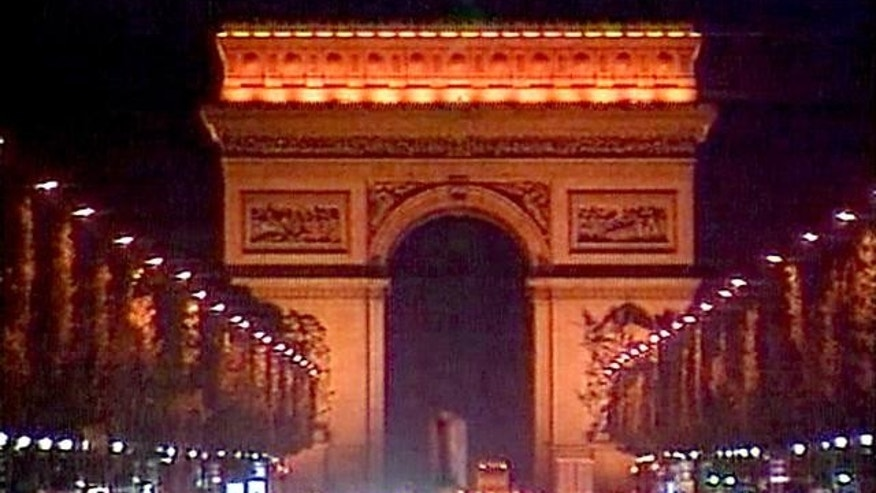 September 11, 2001 - FILE of Arc de Triomphe illuminated at night, Champs Elysees, Paris, France.