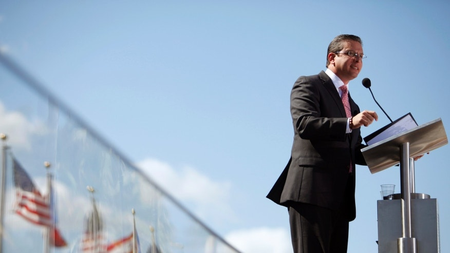 Jan. 2, 2013 - Puerto Rico's newly sworn-in Gov. Alejandro Garcia Padilla delivers his inaugural speech in San Juan.