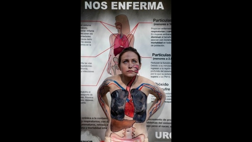 "An activist wearing body paint that illustrates her organs damaged from air pollution stands in front of a poster that reads in Spanish ""We get sick"" during a protest in Mexico City, Wednesday, Jan. 16, 2013.  Activists are protesting the health effects of the cityâs ongoing pollution problem caused by cars and encouraging residents to use bicycles instead of cars. (AP Photo/Eduardo Verdugo)"