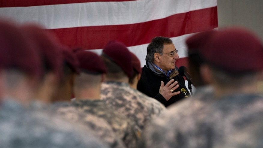 Defense Secretary Leon Panetta speaks to the 173rd Airborne Brigade Combat Team at U.S. Army Garrison in Vicenza, Italy, Thursday, Jan. 17, 2013. Panetta is in Italy as part of a weeklong swing across Europe, meeting with defense ministers to talk about ongoing conflicts in Afghanistan and Mali. This is expected to be Panetta's last overseas trip as Pentagon chief, as he long has planned to step down once his replacement is confirmed. (AP Photo/Jacquelyn Martin)