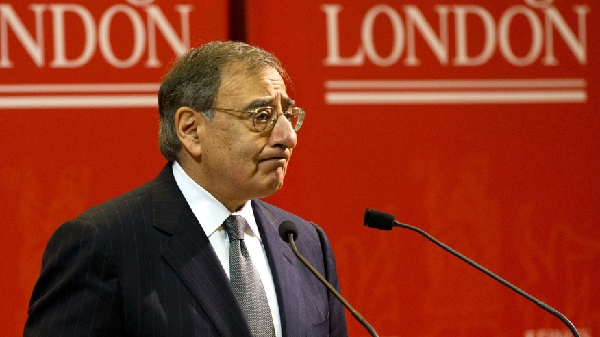 "U.S. Defense Secretary Leon Panetta speaks about the situation in Algeria, at the start of his remarks during a visit to King's College in London on Friday, Jan. 18, 2013, saying there will be ""no quarter for terrorists in North Africa."" (AP Photo/Jacquelyn Martin)"