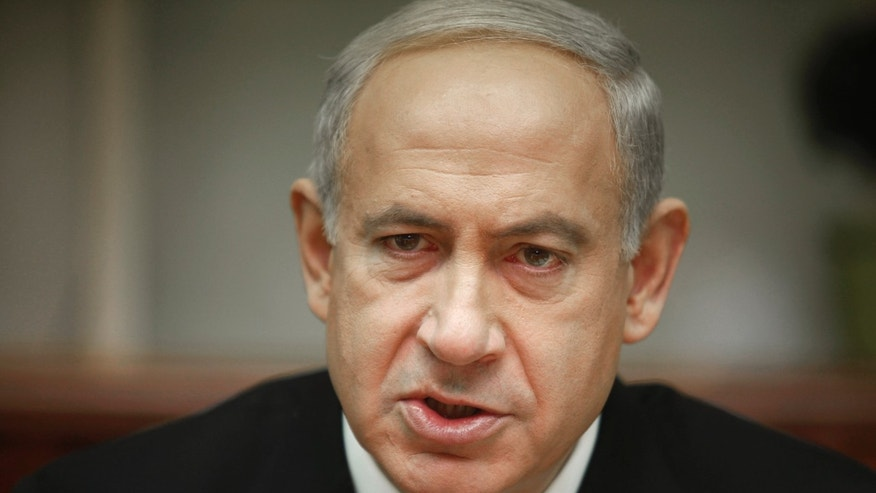 Israeli Prime Minister Benjamin Netanyahu attends the weekly cabinet meeting in Jerusalem Sunday, Jan. 20, 2013. Netanyahu chaired the last meeting of his government, two days before general elections expected to grant him another term. (AP Photo/Gali Tibbon, Pool)