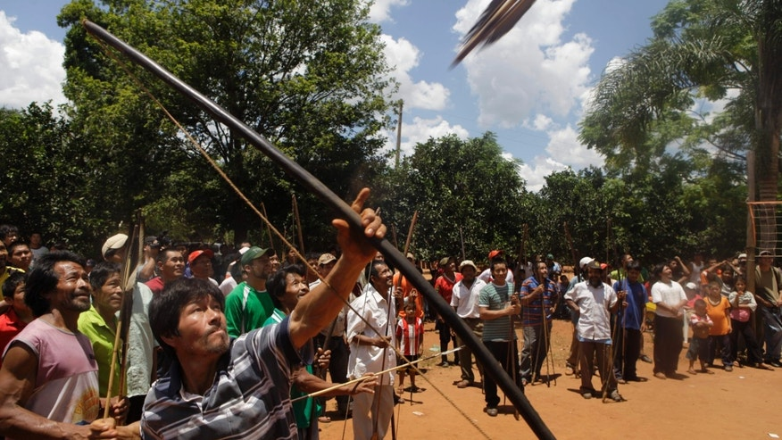In this Jan. 19, 2013 photo, an Ache indigenous man shoots his arrow at a target on the top of a tree during events celebrating 12th anniversary of the village of Kuetuvy in the Canindeyu department of Paraguay. The Ache Indian village in Paraguay's jungle celebrated the anniversary of its founding and recognition that the tribe's warriors are the best archers in the country by preparing traditional dishes and with demonstrations of their bow-and-arrow prowess. In 2010, Paraguay's Congress gave them formal title to the land.  (AP Photo/Jorge Saenz)