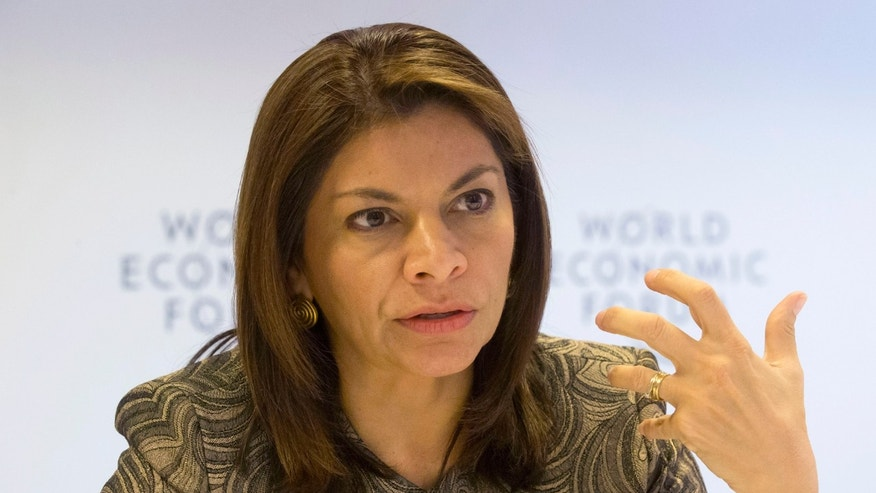 Costa Rica's President Laura Chinchilla, gestures as she speaks during an Associated Press interview at the 43rd Annual Meeting of the World Economic Forum, WEF, in Davos, Switzerland, Wednesday, Jan. 23, 2013. (AP Photo/Michel Euler)