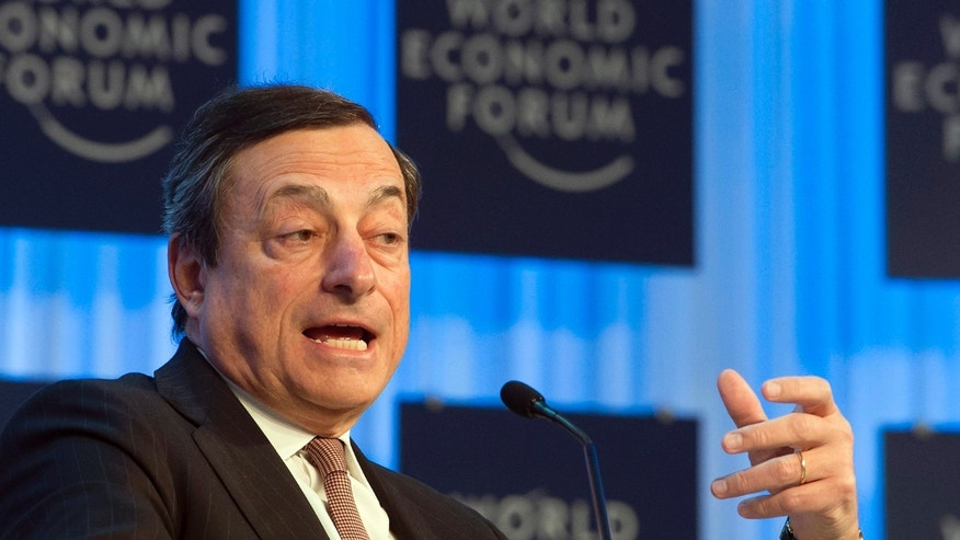 Italian Mario Draghi, President of the European Central Bank, speaks during a session at the 43rd Annual Meeting of the World Economic Forum, WEF, in Davos, Switzerland, Friday, Jan. 25, 2013.  (AP Photo/Keystone, Jean-Christophe Bott)