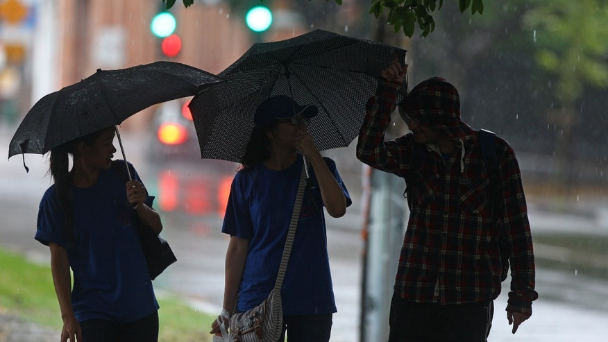 People use umbrellas to fend off the rain as they walk through a park in Sydney, Australia, Monday, Jan. 28, 2013. Torrential rain over the weekend flooded several towns in eastern Australia, and three deaths were reported. (AP Photo/Rick Rycroft)