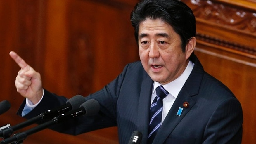 "Jan. 28, 2013: In this photo, Japanese Prime Minister Shinzo Abe delivers his policy speech during an opening session at the lower house of parliament in Tokyo. Abe told a television talk show Tuesday, Jan. 29 that Japan and the international community will need to impose ""quite severe measures"" against North Korea if it conducts a nuclear test."