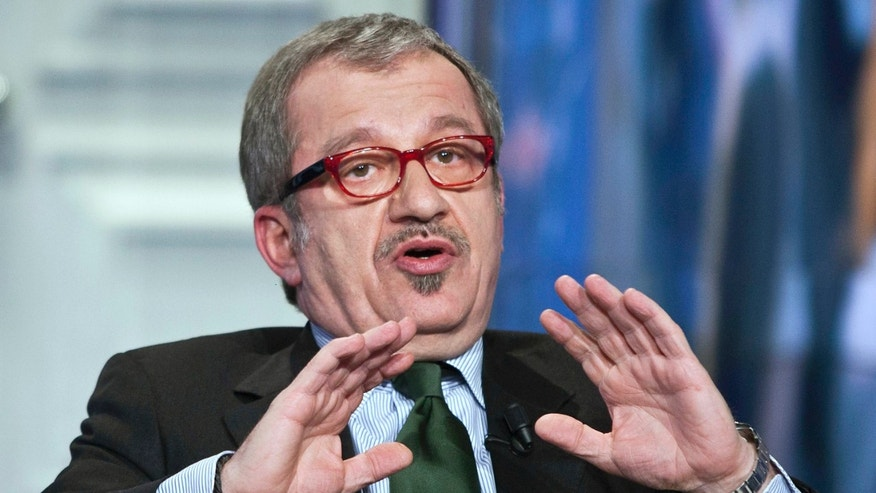In this Jan. 17, 2013 photo Northern League party's leader Roberto Maroni attends a TV show in Rome. Lombardy, Italy's most populous and economically productive region, is a key battleground in the upcoming national elections, with the regional race not only likely to determine who can most reliably govern the euro zone's third-largest economy but also testing emerging political alliances. Polls show that the center-right coalition led by Silvio Berlusconi and the center-left forces backing Democratic Party leader Pier Luigi Bersani's bid for premier are neck-and-neck in Lombardy, geographically centered around the financial and fashion capital Milan, marking the first time in the Berlusconi era that the left has had such a strong showing in region where the media mogul made his mark. (AP Photo/Roberto Monaldo, Lapresse) ITALY OUT