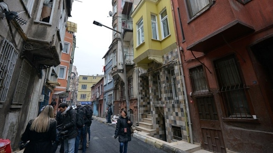 Jan. 28, 2013: A view of the street with the hostel, in yellow, where Sarai Sierra, a New York City woman, 33, was staying in Istanbul, Turkey. Police in Istanbul were scanning security camera footage Monday to try to trace  Sierra who went missing while vacationing alone in the city, a Turkish official said. A police official said authorities were reviewing footage from around Istanbul's Taksim neighborhood -- the city's main hub where she was staying at a hostel.