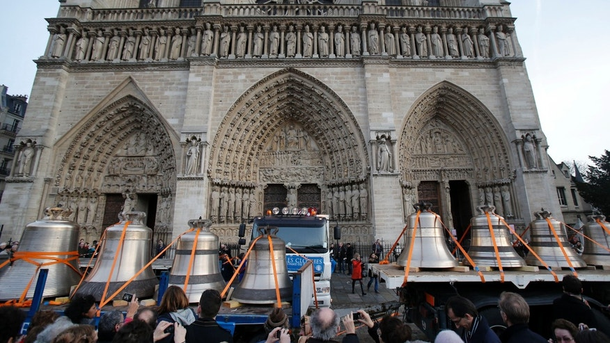 Jan. 31, 2013: Visitors gather around new bells in front of the Notre Dame cathedral, in Paris.