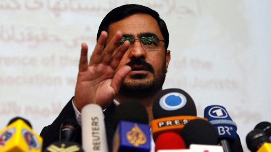 April 19, 2009: In this file photo, former Tehran prosecutor Saeed Mortazavi, gestures, during a news conference, in Tehran, Iran.