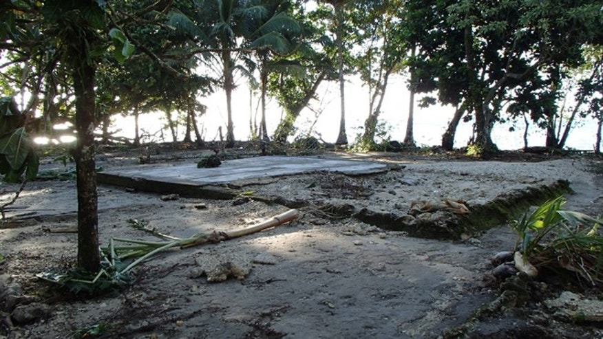 Feb. 6, 2013: After the house was swept away by a Tsunami, the foundations mark the spot where a home used to be, seen following a Tsunami at Lata, Temotu province, Solomon Islands.